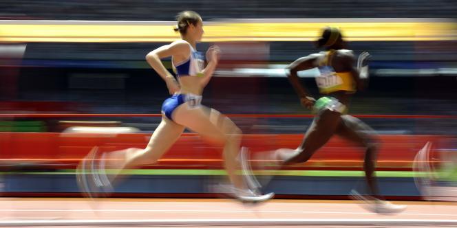 La Française Elodie Guégan en action lors des qualifications du 800 m féminin des JO de Pékin, le 15 août 2008.
