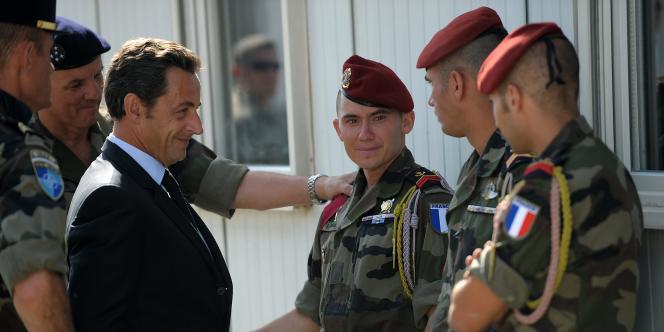 Nicolas Sarkozy, lors d'une visite éclair à Kaboul, le 20 août 2008.