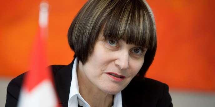Micheline Calmy-Rey, lors d'une conférence de presse à Tallinn, en Estonie, le 9 avril 2007.