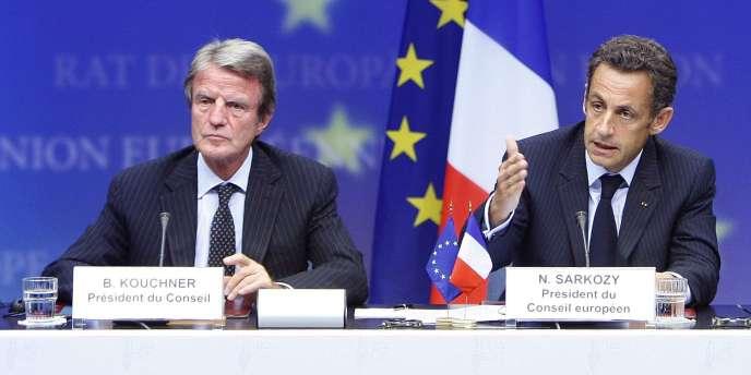 Bernard Kouchner et Nicolas Sarkozy, en septembre 2008