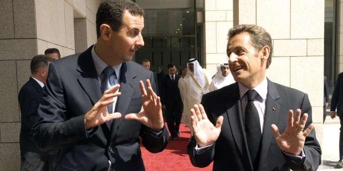 Nicolas Sarkozy en visite à Damas, les 3 et 4 septembre 2008.