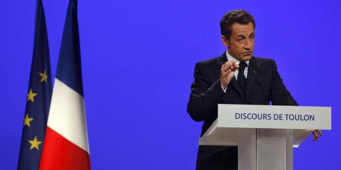 Nicolas Sarkozy lors de son discours à Toulon, le 25 septembre 2008.