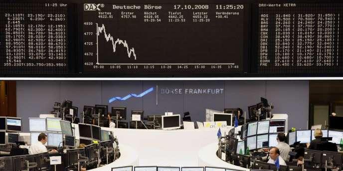 La Bourse de Francfort, vendredi 17 octobre 2008.