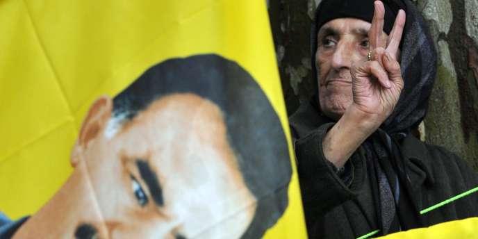 Manifestation à Strasbourg en faveur d'Abdullah Ocalan, l'ex-chef du Parti des travailleurs du Kurdistan détenu  en Turquie.