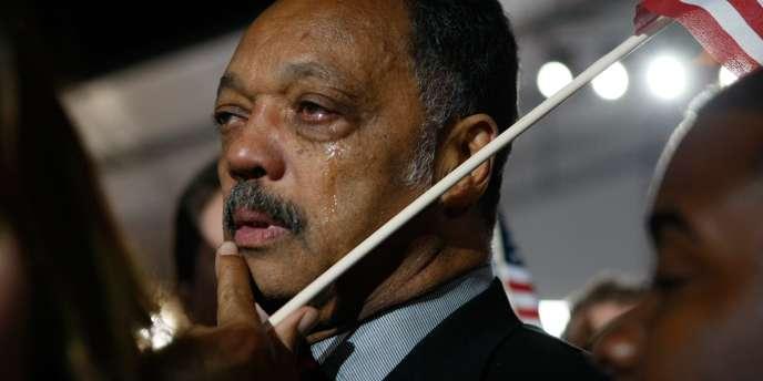 Le révérend Jesse Jackson en larmes lors du discours de Barack Obama à Grant Park à Chicago (Illinois), le 4 novembre 2008.