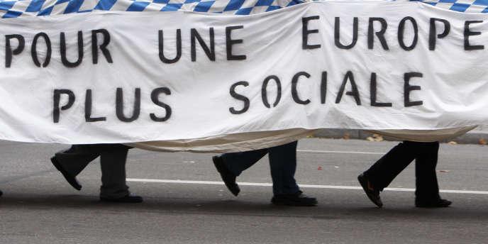 Manifestation de syndicats à Strasbourg.
