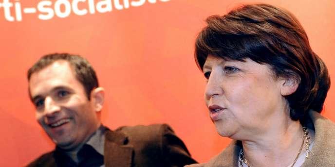 La première secrétaire du PS, Martine Aubry, et le porte-parole du parti, Benoît Hamon.