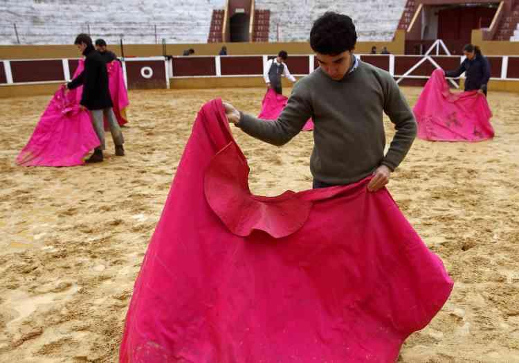 Des élèves d'une école de tauromachie s'entraînent dans l'arène d'Arruda dos Vinhos, à 30 km de Lisbonne. Le week-end dernier s'est tenue une rencontre entre les maîtres et les étudiants des principales écoles de tauromachie de France, d'Espagne et du Portugal.