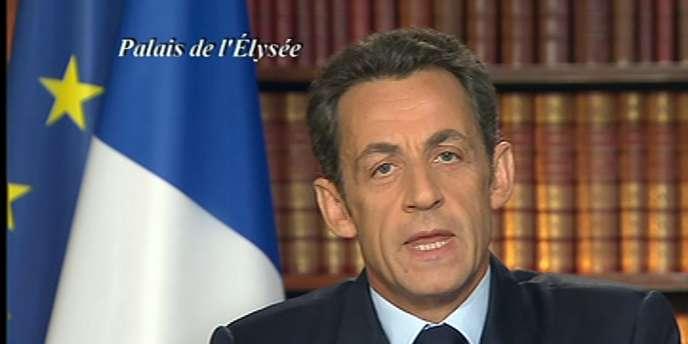 Nicolas Sarkozy, lors de ses vœux télévisés, le 31 décembre 2008.