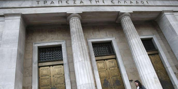 La façade de la Banque de Grèce, à Athènes.