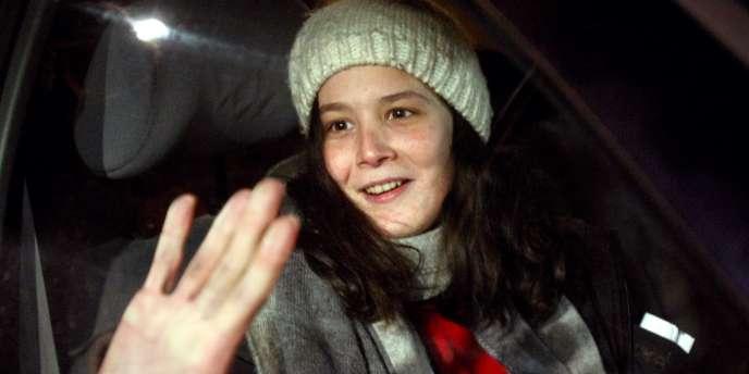 Yldune Lévy lors de sa sortie de la prison de Fleury-Mérogis, le 16 janvier.