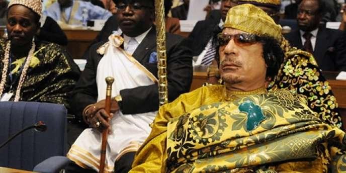 L'ancien leader libyen à l'ouverture du sommet de l'Union africaine, dont il avait été élu président pour un an en février 2009.