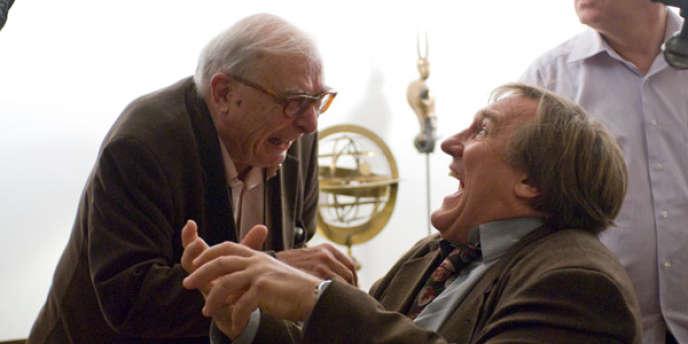 Claude Chabrol et Gérard Depardieu sur le tournage de