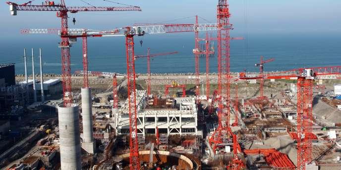 Sur le chantier de construction de l'EPR de troisième génération à Flamanville, le 11 octobre 2008.