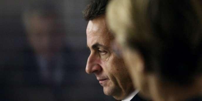 Nicolas Sarkozy, avec en premier plan Michèle Alliot-Marie, en novembre 2007 à Eaubonne.