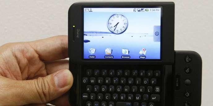 Un téléphone utilisant Android, le système d'exploitation de Google.