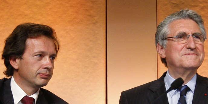 Ernest-Antoine Seilliere (à droite) et Jean-Bernard Lafonta, ici en juin 2008.