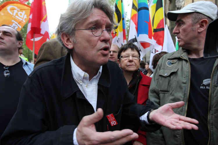 """Jean-Claude Mailly, le secrétaire général de Force ouvrière affirme, concernant la mobilisation : """"C'est la même chose ou un peu moins fort dans certains départements que le 19 mars mais dix fois plus qu'en 2008""""."""