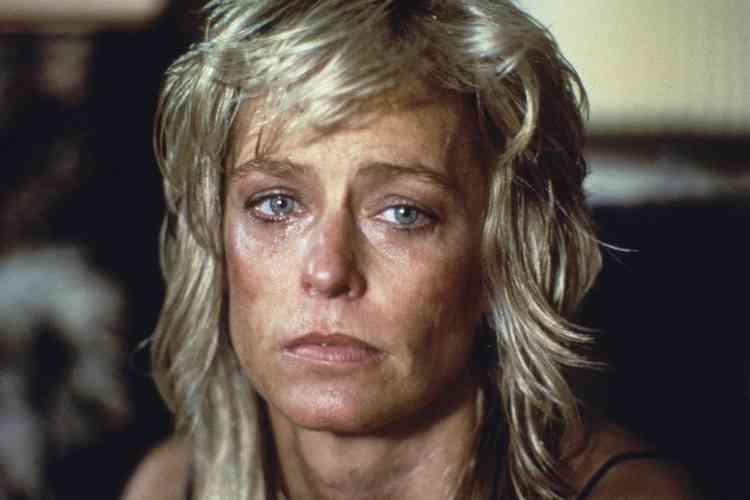 """Farrah Fawcett sur le tournage d' """"Extremities"""" en  1986."""