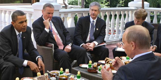 Le président américain s'est entretenu avec le premier ministre russe, Vladimir Poutine, le 7 juillet 2009.
