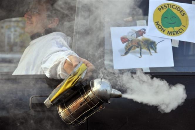 Des apiculteurs manifestent, en décembre 2008 à Nantes, pour demander l'interdiction du pesticide Cruiser.
