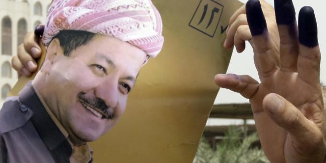 Une affiche du président de la région autonome du Kurdistan irakien, Massoud Barzani, lors élections irakiennes de juillet 2009.