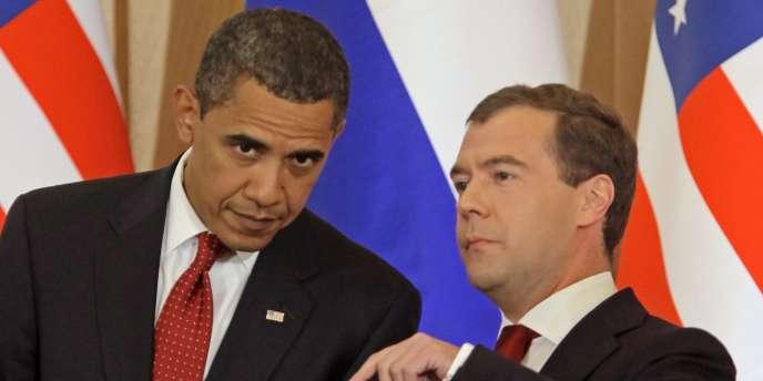 Barack Obama et Dmitri Medvedev lors d'une rencontre au Kremlin, le 6 juillet 2009.