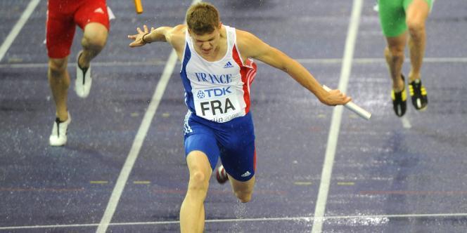 Christophe Lemaître avec le relais 4 X 100 m lors des Mondiaux de Berlin en 2009.