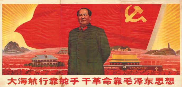 Une affiche représentant Mao Zedong.