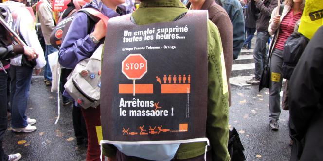 Manifestation de salariés de France Télécom en octobre à Paris.