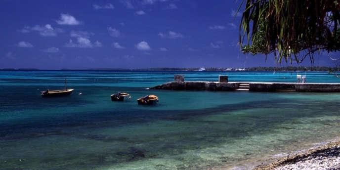 L'atoll de Tuvalu, à 1 000 km des îles Fidji, dans l'océan Pacifique.