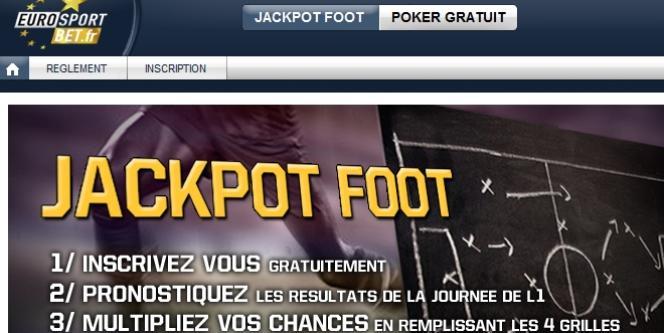 Page d'accueil du site de paris sportifs en ligne EurosportBet.fr.
