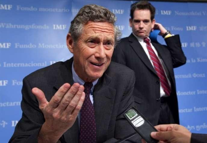 Le chef économiste du FMI, Olivier Blanchard, lors d'une conférence de presse à Washington.