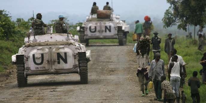 Patrouille de casques bleus de l'ONU en République démocratique du Congo, dans le fief du Nord-Kivu.