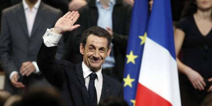 Nicolas Sarkozy lors d'un meeting de l'UMP, en novembre 2009.