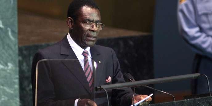 Le président réélu de Guinée équatoriale, Teodoro Obiang Nguema, au siège de l'ONU à New York, le 23 septembre 2009.