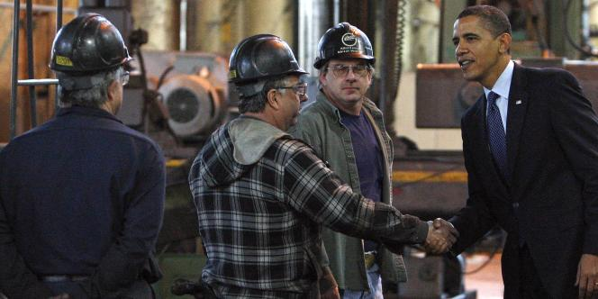Barack Obama en visite dans une usine à Allentown, en Pennsylvanie, fin 2009.