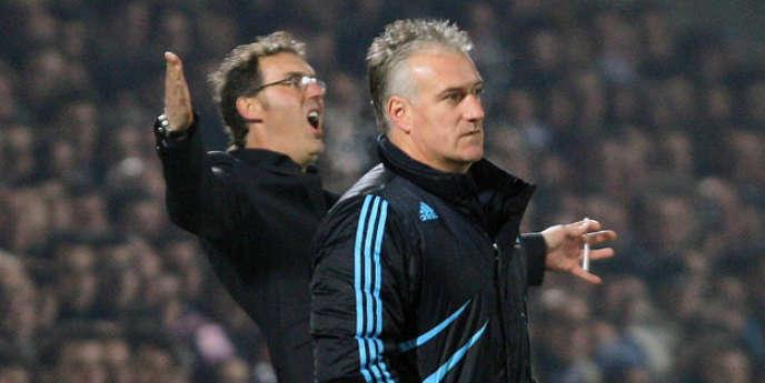 Laurent Blanc et Didier Deschamps, le 17 janvier 2010 à Bordeaux.