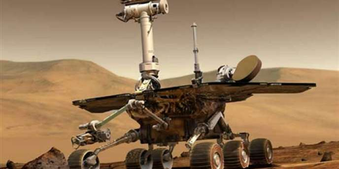Vue d'artiste du robot Spirit envoyé sur Mars par la NASA.