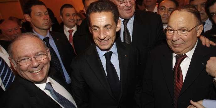 Nicolas Sarkozy avec le recteur de la mosquée de Paris, Dalil Boubakeur (à droite), et le président du CRIF, Richard Prasquier (à gauche), à Paris, en février 2010.