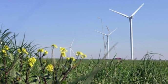 Le parc éolien de la filiale de l'électricien espagnol Endesa, Endesa France, sur le site de Lehautcourt en Picardie.