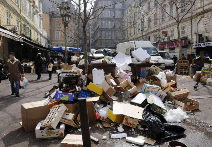 Grève des éboueurs à Marseille.