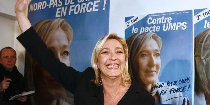 Marine Le Pen, à Hénin-Beaumont, le 21 mars.