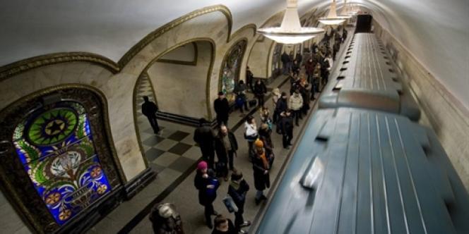 Une station de métro à Moscou.