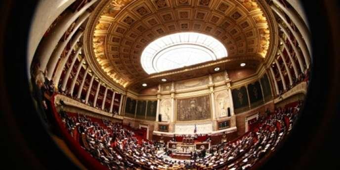 Vue de l'hémicycle de l'Assemblée nationale, à Paris.