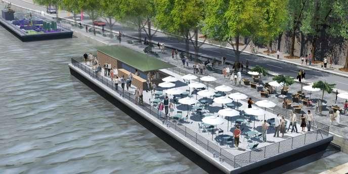 La ville de Paris prévoit la création de cinq postes d'amarrage entre le pont Louis-Philippe et le pont Marie.