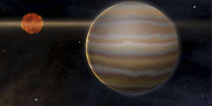 Vue d'artiste d'une exoplanète. Les exoplanètes sont très difficiles à observer : leur détection se fait la plupart du temps de manière indirecte.