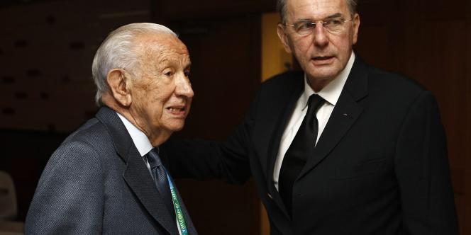 Juan Antonio Samaranch et Jacques Rogge en février 2010.