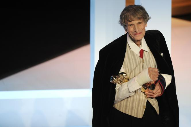 Le comédien français Laurent Terzieff, récompensé à la soirée des Molières, le 25 avril 2010 à Créteil.