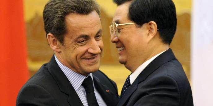 Nicolas Sarkozy avec le président chinois Hu Jintao le 26 novembre 2007.